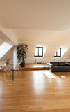 Interior, new loft. Interior, beautiful loft, hardwood floor, view living room Royalty Free Stock Photos