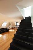 Interior, new loft. Interior, beautiful loft, hardwood floor, view staircase black Stock Images