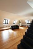 Interior, new loft. Interior, beautiful loft, hardwood floor, view staircase black Stock Photo