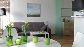 Interior of a new modern apartment in scandinavian style. Motion panoramic view