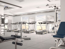 Interior of new modern gym with equipment. Stock Photos