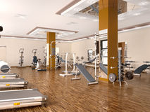 Interior of new modern gym with equipment. Royalty Free Stock Image