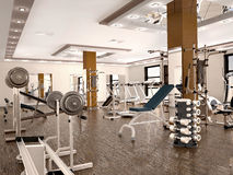 Interior of new modern gym with equipment. Royalty Free Stock Images