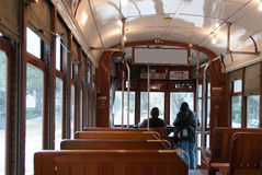 Interior of a New Orleans streetcar. Inside of the historical electric streetcar in New Orleans Royalty Free Stock Photos