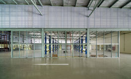 Interior of a new repair garage, Elevation. View Royalty Free Stock Image
