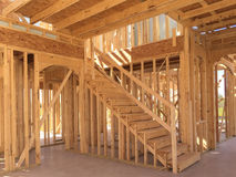 Interior of new two floors house under construction Stock Image