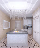 Interior of new white kitchen with pattern-front cabinets Royalty Free Stock Photography