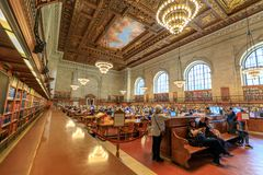 Interior of New York Public Library Main Branch in Manhattan, NYC. New York, United States - May 12, 2018 : Interior of New York Public Library Main Branch in royalty free stock photo