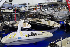 Interior of nice Boat expo in Dallas Texas. Nice winter boat expo in modern city Dallas TX 2017 Royalty Free Stock Images