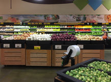 Interior of nice organic produce for sale at  store Royalty Free Stock Photography