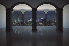 Interior with night city view. Concrete interior with columns and panoramic windows with illuminated night city view. 3D Rendering Stock Images