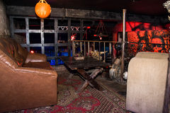The interior of the night club Black Rose in Kirov city in 2016 Royalty Free Stock Photo