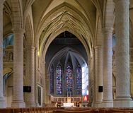 Interior of the Notre-Dame Cathedral in Luxembourg Stock Photography