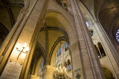 Interior of Notre Dame Cathedral, Paris. Interior image of Notre Dame Cathedral in Paris, France, Europe Stock Photography