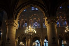 The interior of Notre Dame cathedral in Paris, France. Stock Photography