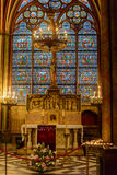 The interior of Notre-Dame Cathedral in Paris. Scenes from the life of Jesus Christ Royalty Free Stock Photos