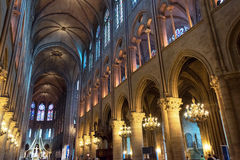 Interior of the Notre Dame de Paris Royalty Free Stock Photo