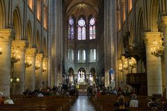 Interior of Notre Dame De Paris Royalty Free Stock Photography