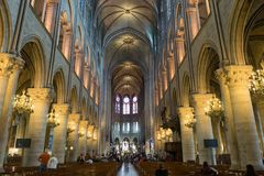 Interior of Notre Dame De Paris Stock Photography