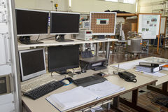 Interior of nuclear laboratory command place Royalty Free Stock Photos