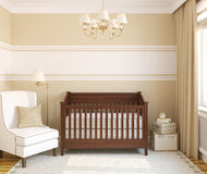 Interior of nursery. Frontal view. 3d render Stock Image