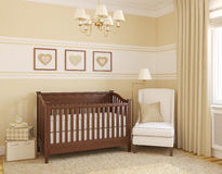 Interior of nursery. 3d render Royalty Free Stock Images