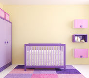 Interior of nursery. Modern interior of nursery with crib near yellow wall. Frontal view. 3d render Stock Photo