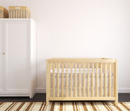 Interior of nursery. Cozy interior of nursery with wooden crib. Frontal view. 3d render Stock Photo