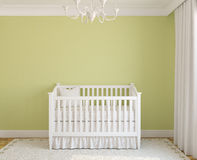 Interior of nursery. Interior of nursery with crib near empty green wall. 3d render Stock Images