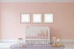 Interior of nursery. 3d render. Royalty Free Stock Photo
