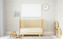 Interior of nursery. 3d render. Royalty Free Stock Photos