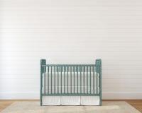 Interior of nursery. Interior of nursery with vintage crib. 3d render Royalty Free Stock Image