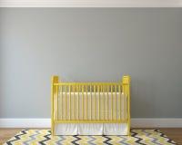 Interior of nursery. Interior of nursery with vintage yellow crib. 3d render Stock Image