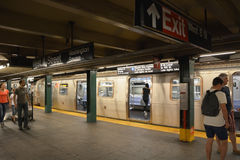 Interior of NYC Subway station. August 06, 2013 in New York City. Subway system has 468 stations in operation royalty free stock photos