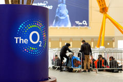 Interior of The O2 Arena with its logo in the foreground royalty free stock photos