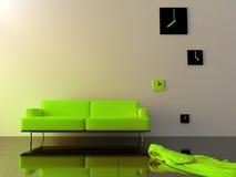 Interior - o sofá e o fuso horário verdes de veludo cronometram Imagens de Stock