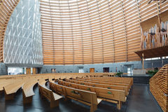 Interior of Oakland Cathedral of Christ the Light. OAKLAND, CALIFORNIA - NOV 5, 2015: The Cathedral of Christ the Light, also called Oakland Cathedral, is the stock image