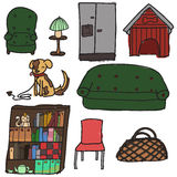 Interior objects. Collection of freehand drawn interior pieces Royalty Free Stock Image