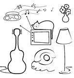 Interior objects collection. Line art style. Stock Photo