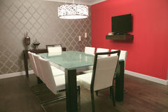 Interior Of A Modern Home, View On Dining Room And Stock Photography