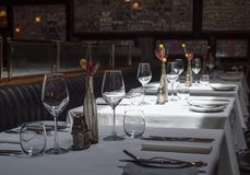 Free Interior Of A Modern Restaurant With Tables Served For Dinner Stock Photo - 143110990