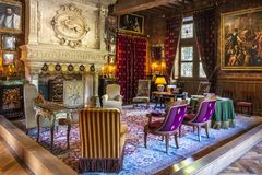 Interior Of A Room In The Chateau Azay-le-Rideau, Loire Valley, France. Stock Images