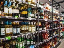 Free Interior Of Albert Heijn Store With Rows Alcoholic Wine Products Royalty Free Stock Image - 157485846