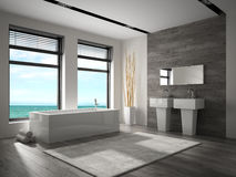 Free Interior Of Bathroom With Sea View 3D Rendering Royalty Free Stock Photo - 92449895