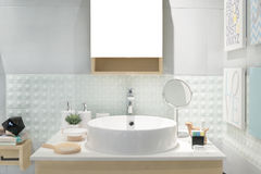 Free Interior Of Bathroom With Sink Basin Faucet And Mirror. Modern D Royalty Free Stock Photos - 81748148