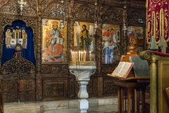 Free Interior Of Greek Orthodox Church Of The Annunciation In Nazareth City In Israel Royalty Free Stock Image - 138118876