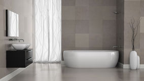 Free Interior Of Modern Bathroom With Grey Tiles Wall Royalty Free Stock Image - 46014746