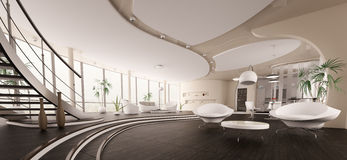 Interior Of Modern House Panorama 3d Render Royalty Free Stock Photography