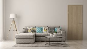 Free Interior Of Modern Living Room With Sofa And Furniture 3D Rendering Royalty Free Stock Image - 128166586