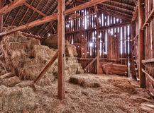 Interior Of Old Barn With Straw Bales Stock Photos